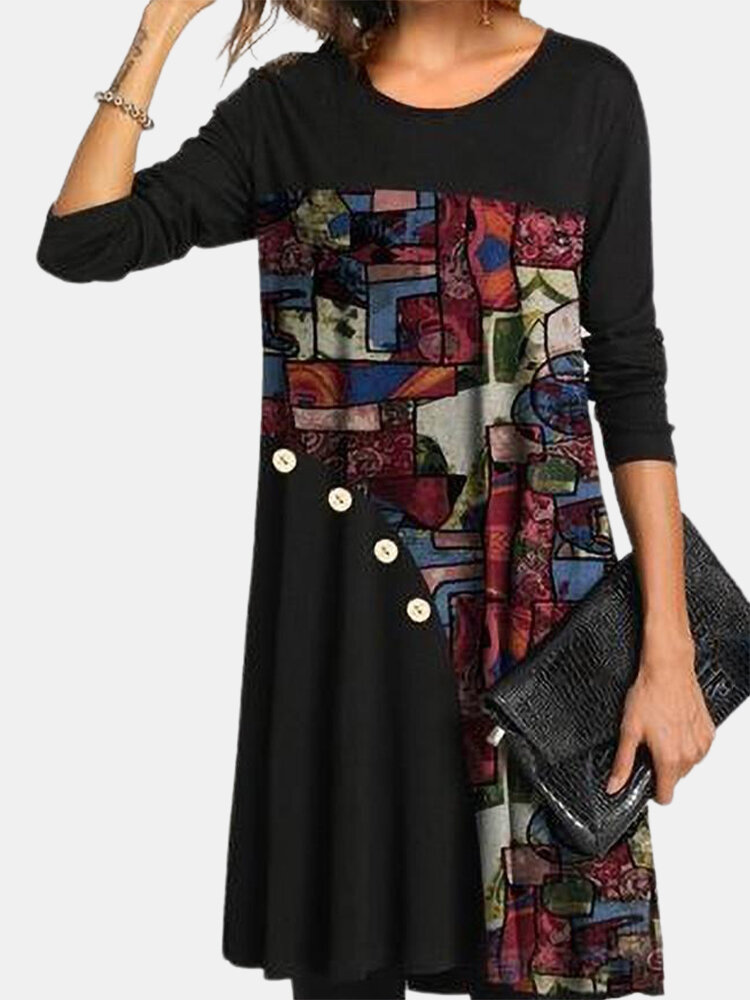 Casual Color Block Print Button Front Plus Size Dress For Women