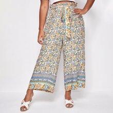 Plus Floral Print Belted Paperbag Pants