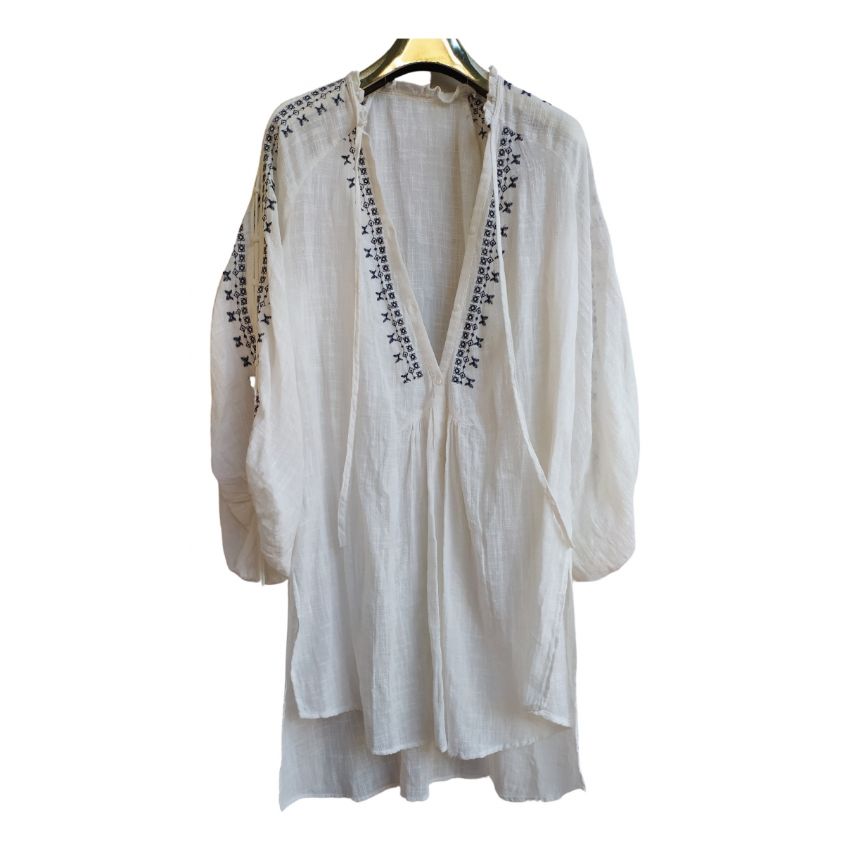 Non Signé / Unsigned Hippie Chic White Linen dress for Women One Size International