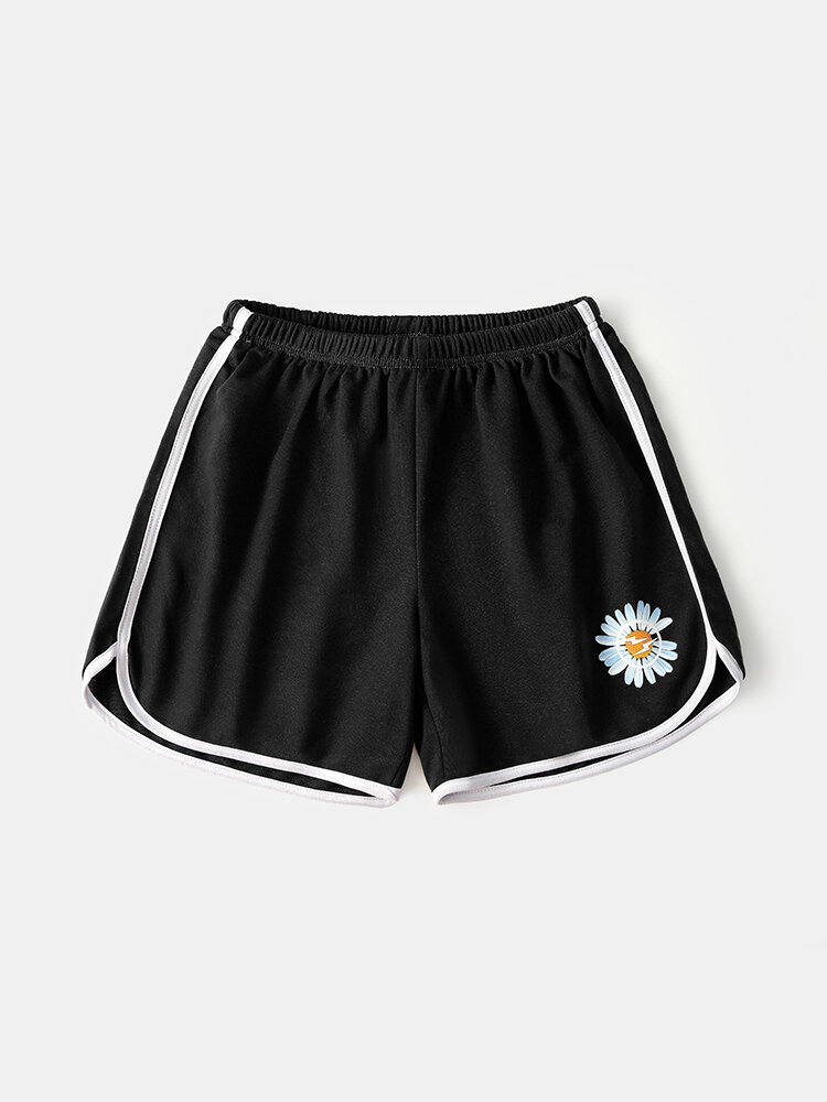 Men Cotton Comfy Breathable Pure Color Daisy Print Gym Sports Shorts