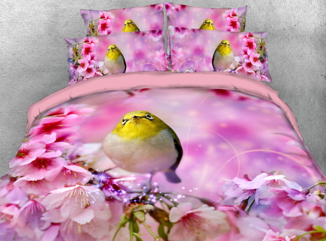 Pink Peach Blossom and Bird Zipper Colorfast Hard-wearing Duvet Cover 4-Piece Soft Spring Floral Bedding Sets with Corner Ties