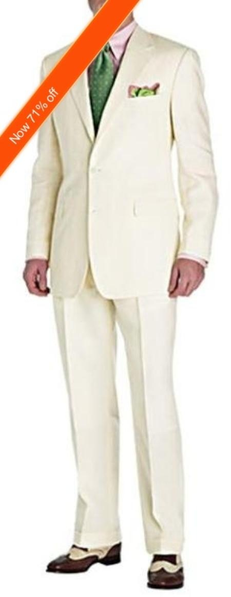 Mens Suit Ivory 2Button Style Perfect For Wedding and Free Tie