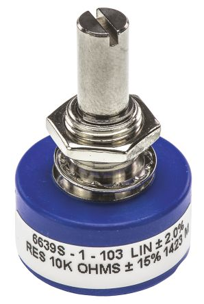 Bourns 1 Gang Continuous Turn Rotary Conductive Plastic Potentiometer with an 6.35 mm Dia. Shaft - 10kΩ, ±15%, 1W Power
