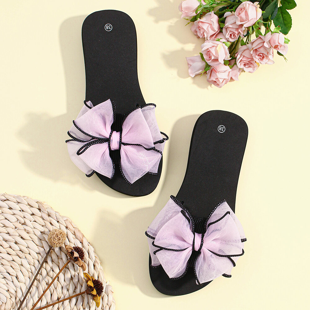 Women Black Border Bow Decor Platform Slippers