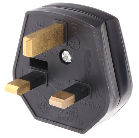 RS PRO UK Mains Connector BS 1363, 13A, Cable Mount, 250 V ac, Black
