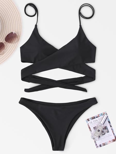 Yoins Black Cross Front Bikini Set