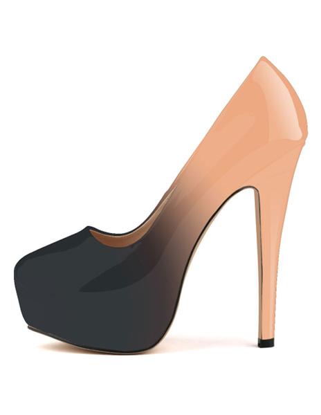 Milanoo Zapatos de plataforma Charol PU Gradientes estilo moderno