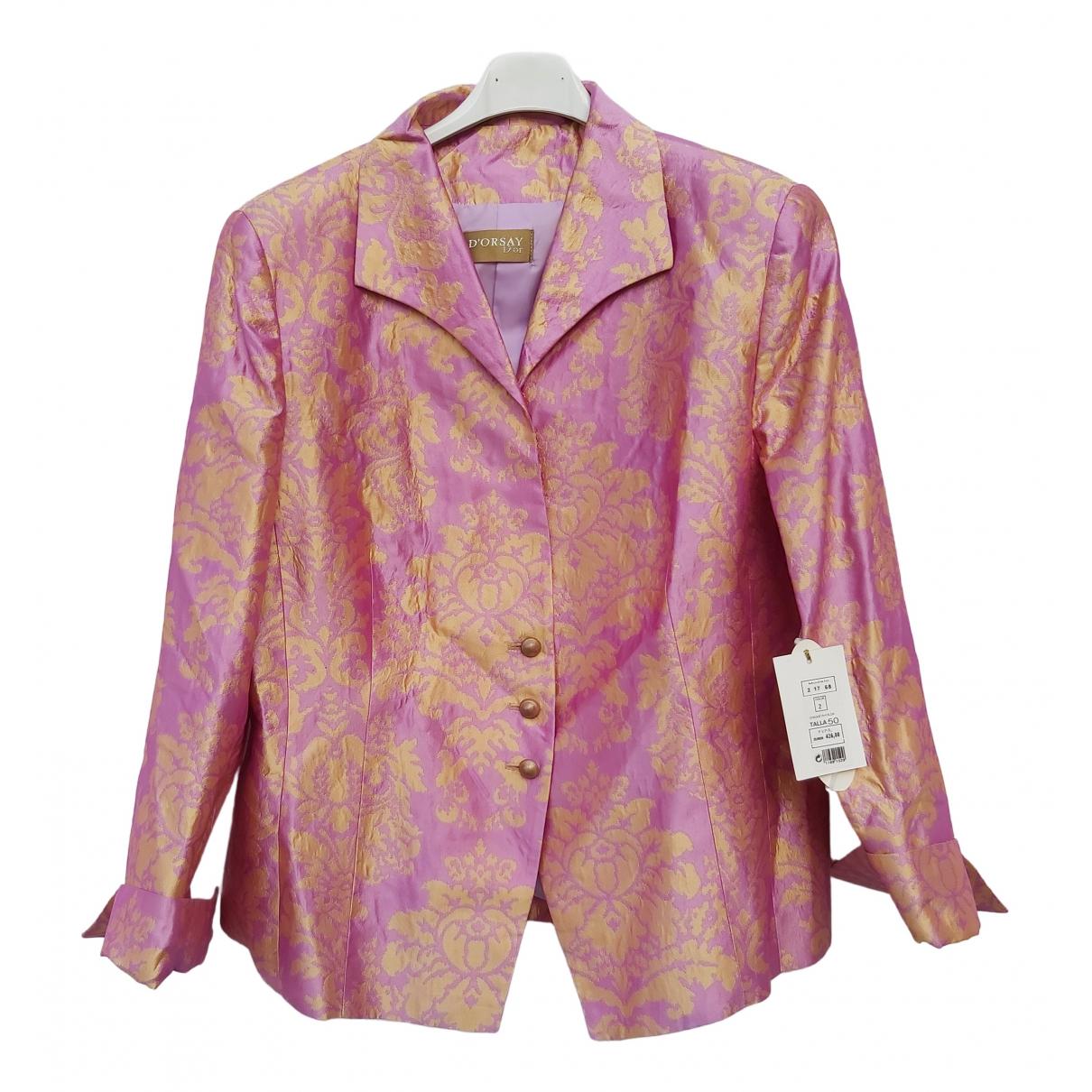 Non Signé / Unsigned \N Pink Silk jacket for Women XXL International