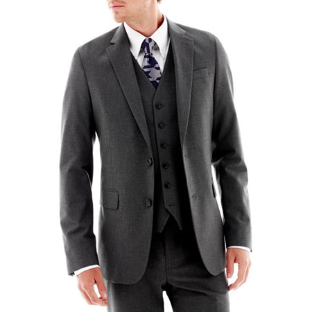 JF J. Ferrar Stretch Gabardine Suit Jacket - Super Slim, 44 Long, Black