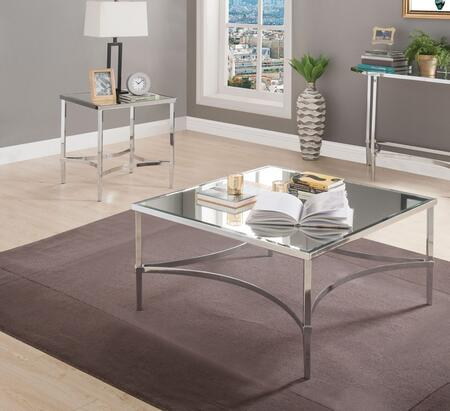 Petunia Collection 80190SET 2 PC Living Room Table Set with 36 Coffee Table and 22 End Table in Chrome