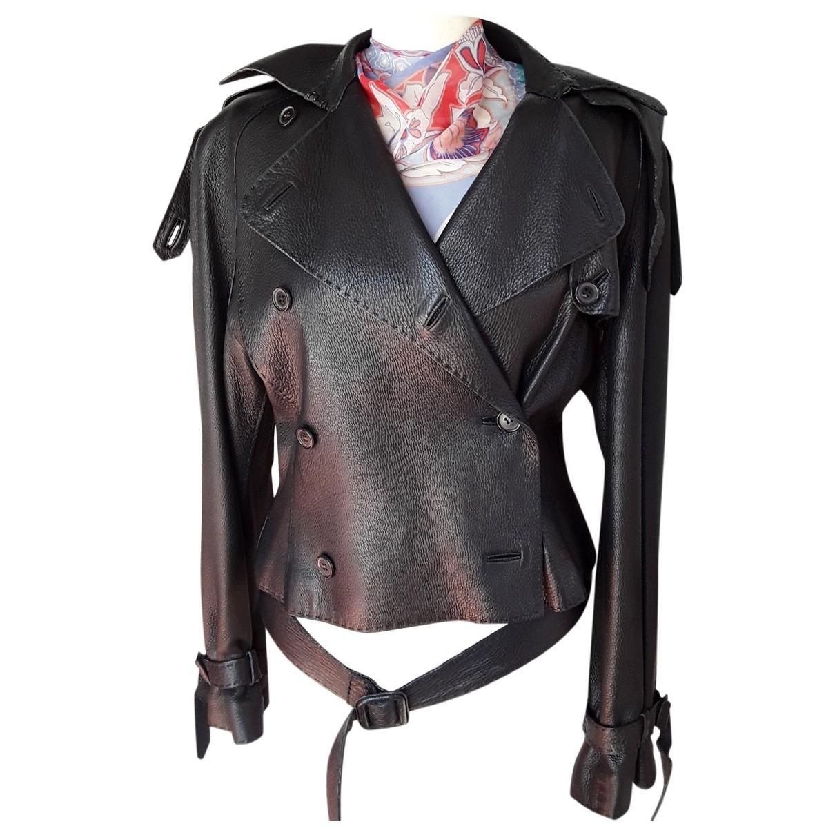 Hermes - Blouson   pour femme en cuir - noir