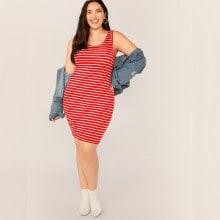 Plus Striped Print Bodycon Tank Dress