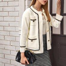 Mantel mit Band, Knopfen vorn und Taschen Flicken