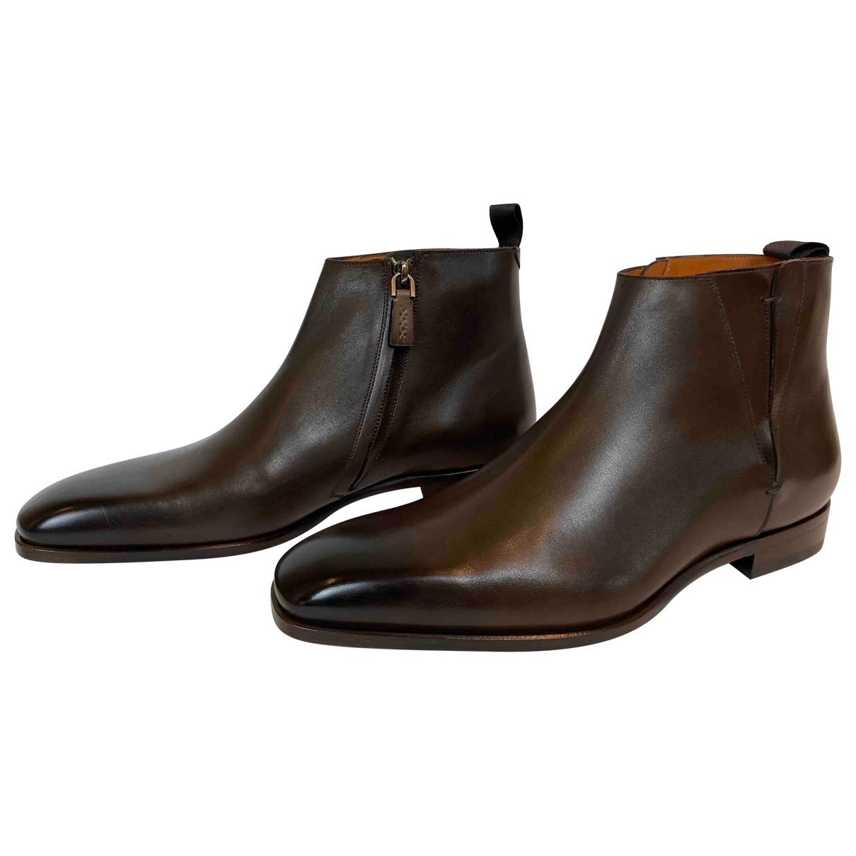 Ermenegildo Zegna N Brown Leather Boots for Men 9 UK