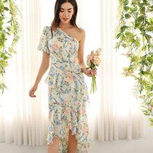 Vestido asimetrico floral fruncido con un hombro