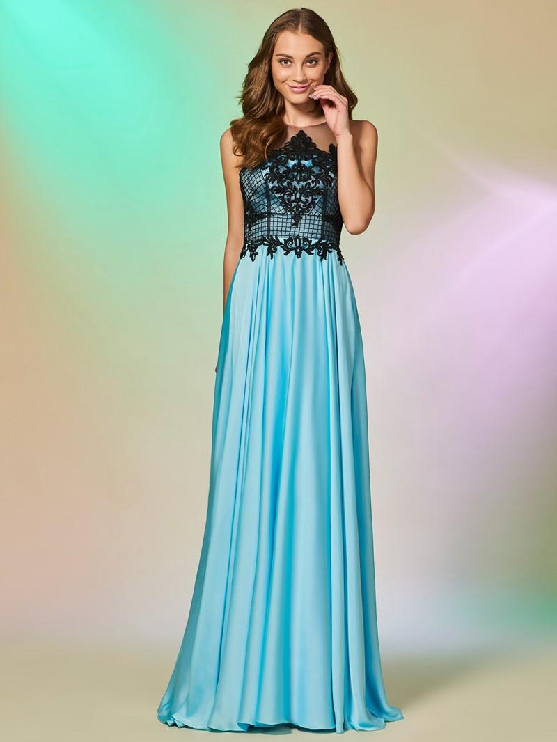 Ericdress A Line Applique Button Back Long Prom Dress