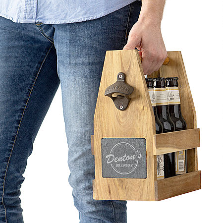 Cathy's Concepts Personalized Beer Carrier with Magnetic Bottle Cap Holder, One Size , Brown