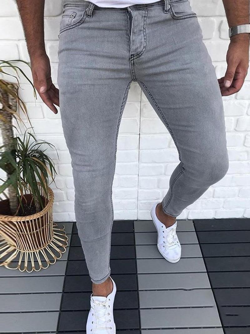 Ericdress Plain Zipper Men's Low Waist Jeans
