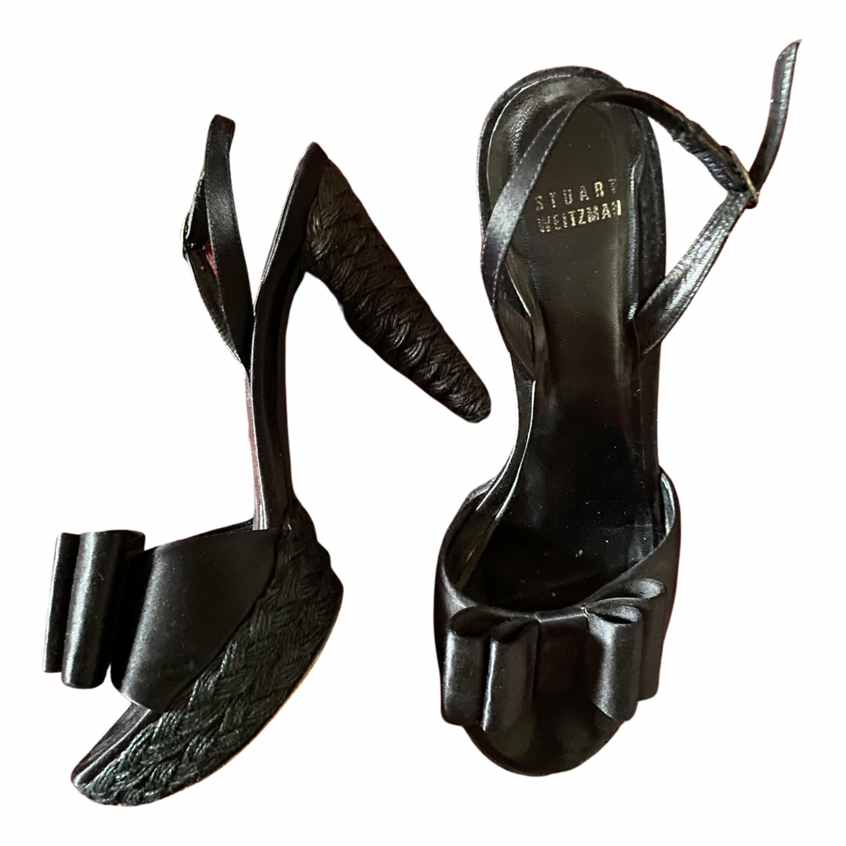Stuart Weitzman N Black Leather Sandals for Women 39 EU