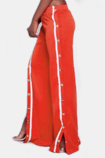 Yoins Active High Side Slit Rivet Design Wide Leg Sport High Waist Pants in Red