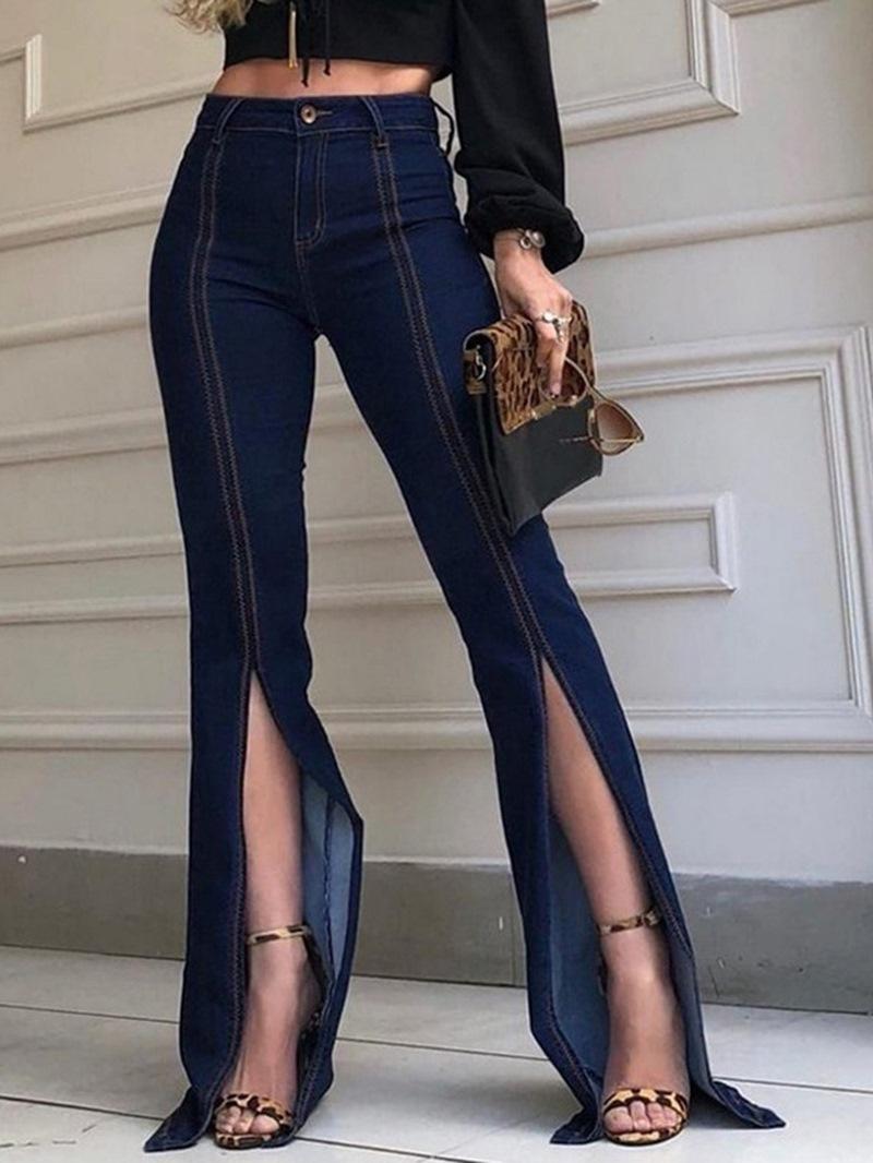 Ericdress Plain Bellbottoms Split Slim Mid Waist Jeans