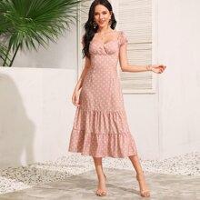 Kleid mit ueberaller Gaensebluemchen Muster, Band hinten und Raffungsaum