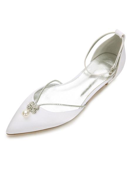 Milanoo Zapatos de novia de saten azul oscuro  Zapatos de Fiesta Zapatos Plana de puntera puntiaguada Zapatos de boda con perlas