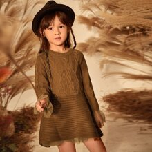 Toddler Girls Rib & Cable Knit Contrast Mesh Cuff Sweater Dress