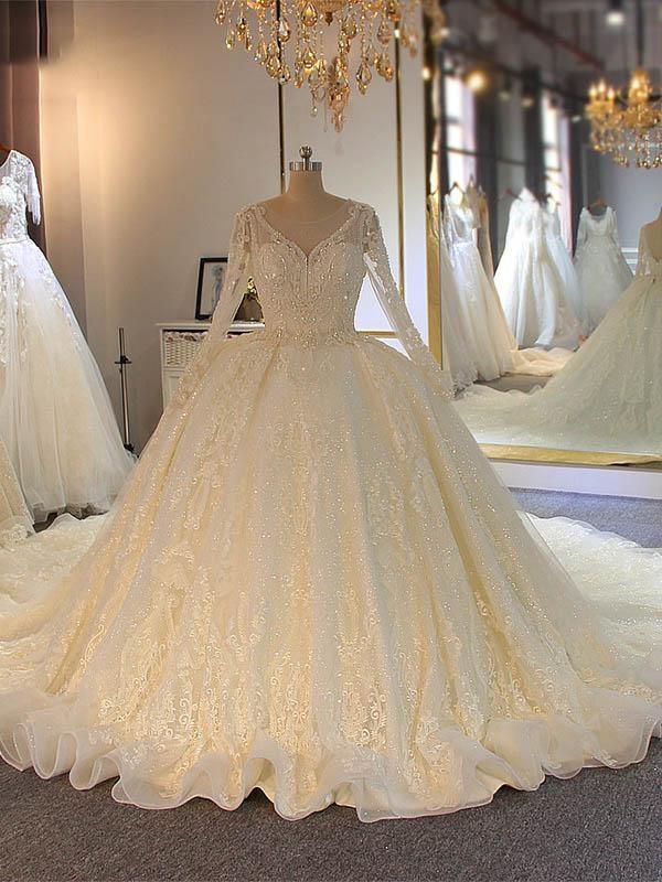 Mousseux perles appliques robe de bal robes de mariee | Robes de mariee plissees a manches longues en tulle transparent