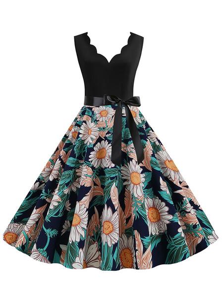 Milanoo Vestido vintage de girasol Vestido sin mangas con estampado floral y cuello en V de los años 50