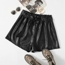 Plus Paperbag Waist Belted PU Leather Shorts