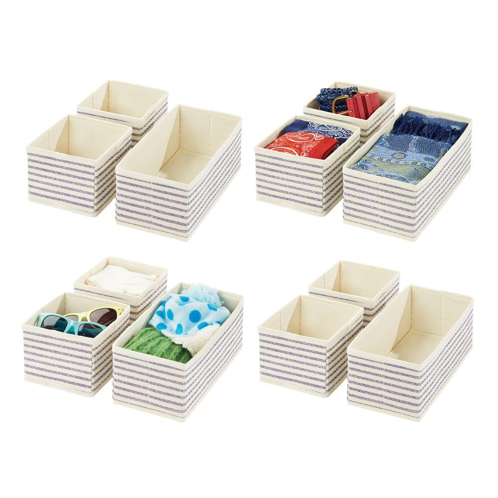 Fabric - Closet / Dresser Drawer Storage Organizer in Natural/Cobalt Blue, by mDesign