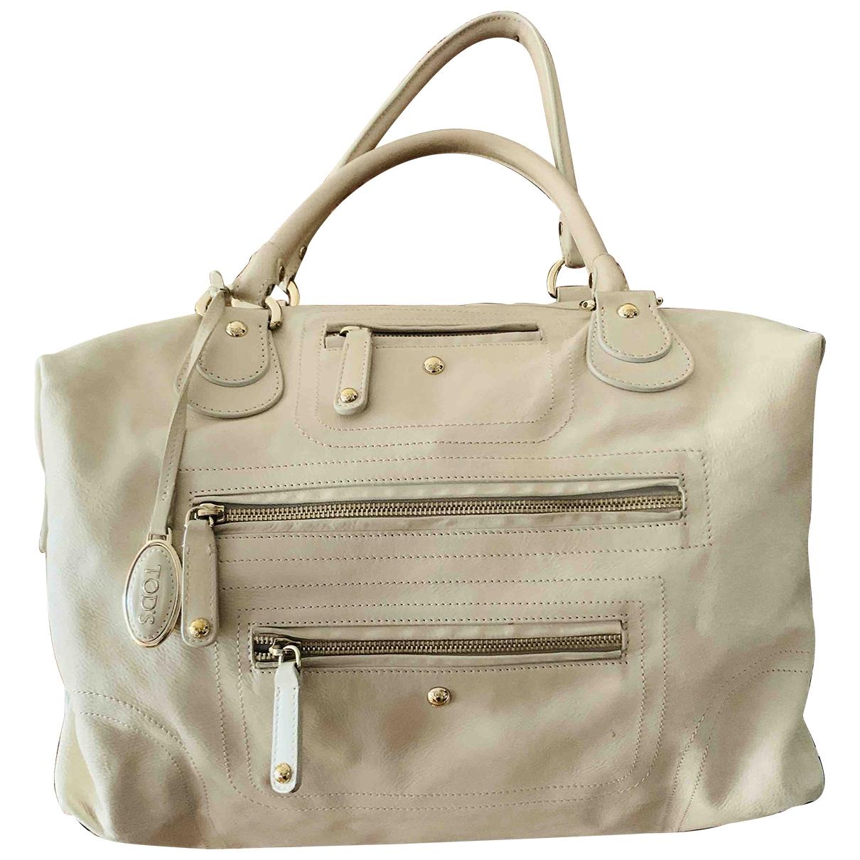 Tods \N Handtasche in  Ecru Leder