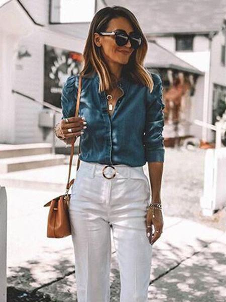 Milanoo Blusa para mujer azul marino oscuro cuello vuelto vaquero mangas largas algodon