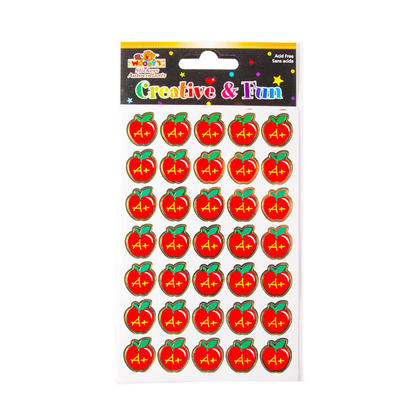 Apple Shaped A+ Reward Teacher Stickers, 4