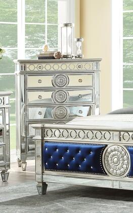 Varian Collection 26156 44 Chest with 6 Drawers  Mirror Top  Mirror Inlay Trim  Raised Geometric Trim  Sunburst Motifs and Poplar Wood Construction