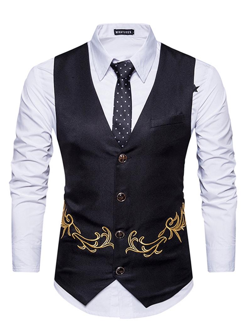 Ericdress Vogue Plain Embroidery Cotton V-Neck Slim Mens Vest