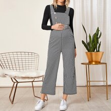 Maternity Button Front Houndstooth Overalls