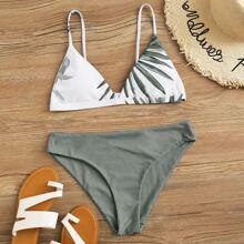 Tropical Print Triangle Bikini Swimsuit