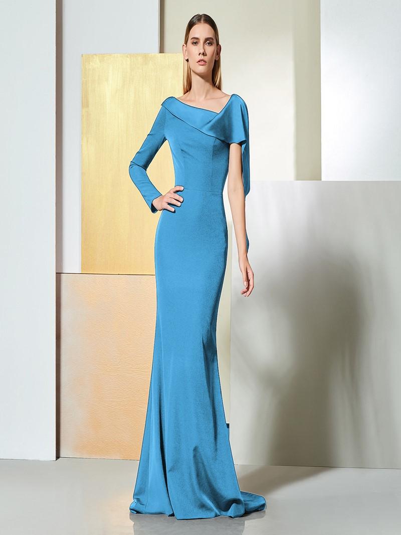 Ericdress One Shoulder Long Sleeve Black Mermaid Evening Dress