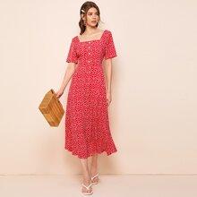 Kleid mit quadratischem Kragen, Knopfen vorn und Bluemchen Muster