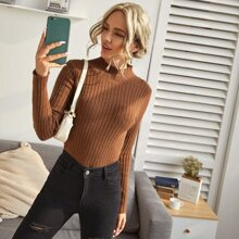 Ribbed Knit Solid Sweater