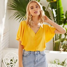 Solid Button Front Butterfly Sleeve Tee