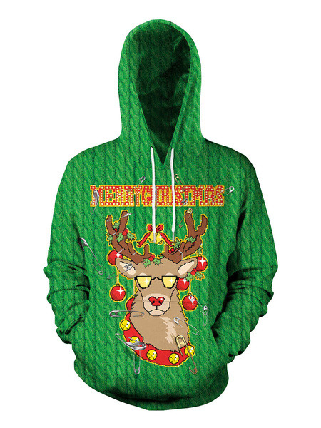 Milanoo Unisex Christmas Hoodie Print Long Sleeve Ugly Christmas Sweater