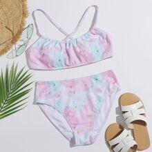 Bikini Badeanzug mit Batik und hoher Taille