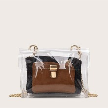 Clear Bag With Inner Plaited Clutch