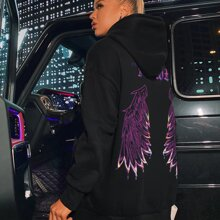 Wing And Letter Graphic Oversized Hoodie