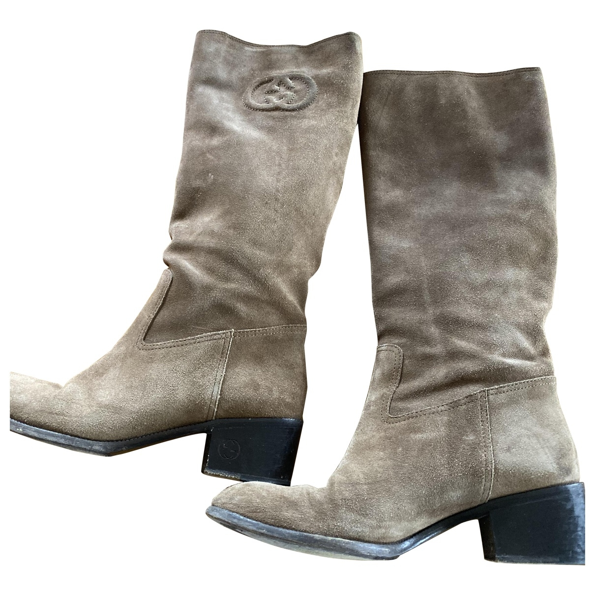 Gucci \N Beige Leather Boots for Women 37.5 EU
