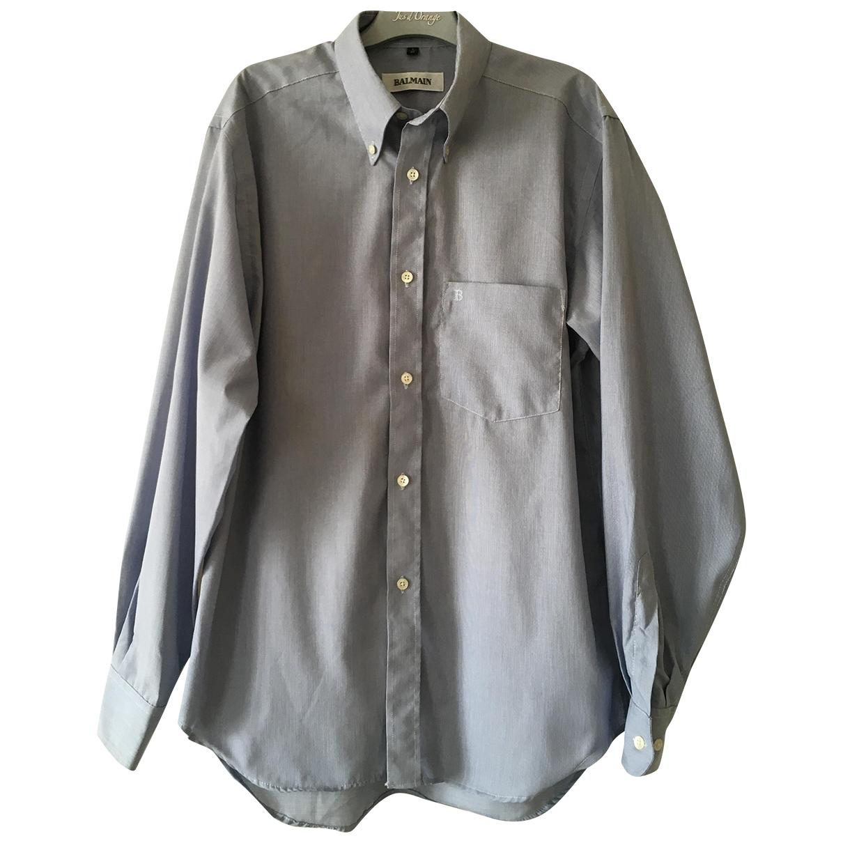 Balmain \N Blue Cotton Shirts for Men 40 EU (tour de cou / collar)