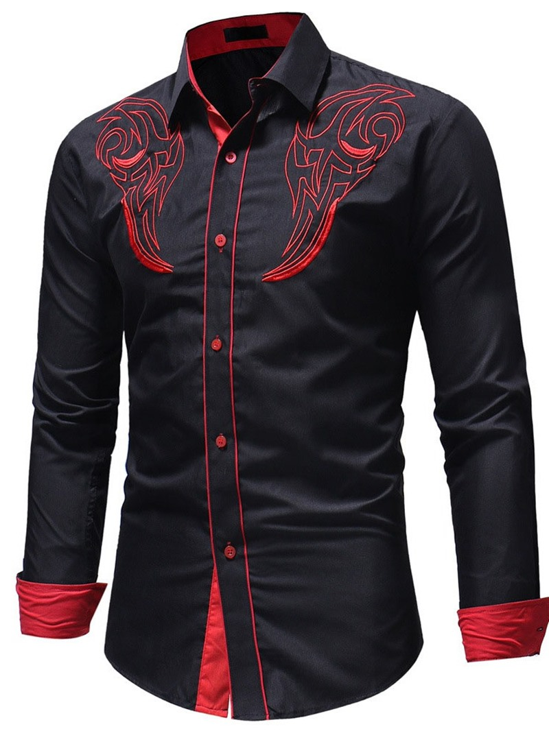 Ericdress Embroidery Lapel Casual Fall Slim Shirt